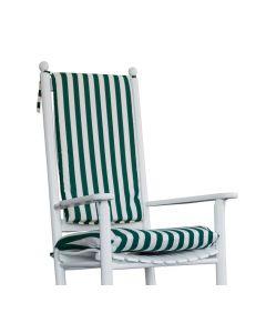 Polster grün-weiß gestreift für Schaukelstuhl von Troutman Chairs bei American Heritage