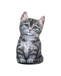 Graue Tabby Kätzchen Türstopper vorne
