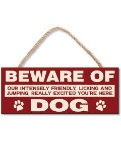 Hängeschild aus Holz Beware Of Dog
