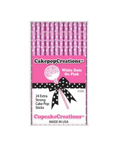Cake Pop Stiele White Dots on Pink von Cupcake Creations