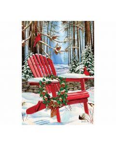 Gartenfahne für den Winter mit Adirondack im Schnee von American Heritage
