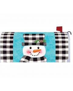 Gingham Snowman Mailbox Cover