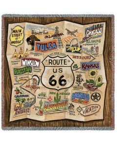 Route 66 Gewebte Baumwolldecke