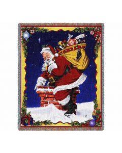 Weihnachten Down I Go Santa Gewebte Baumwolldecke