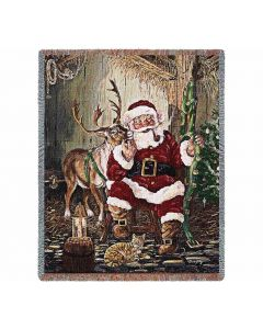Time To Go Santa Claus Gewebte Baumwolldecke American Heritage