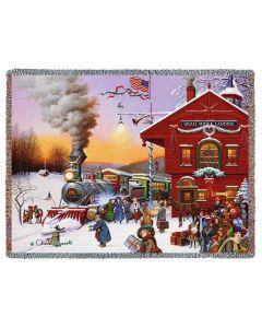 Whistle Stop Christmas Gewebte Baumwolldecke für Weihnachten von American Heritage
