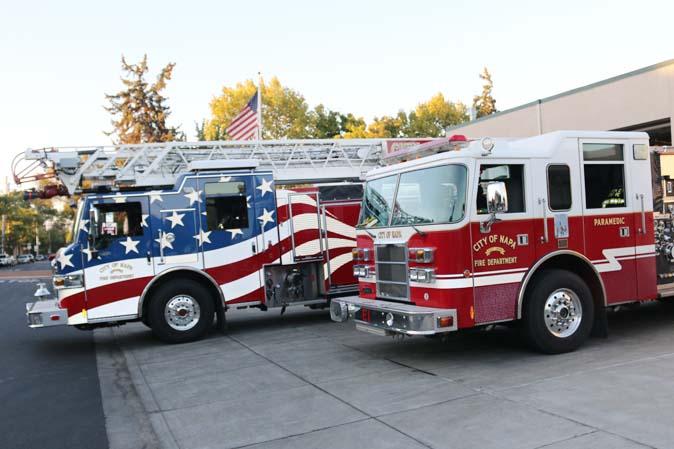 Stars & Stripes-Feuerwehrauto in Kalifornien