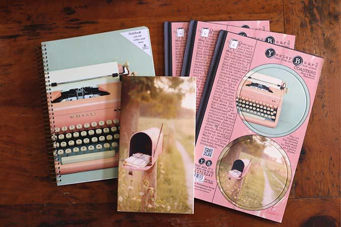 Vintage Pink-Design für Yesterboard Coaster und Notizücher
