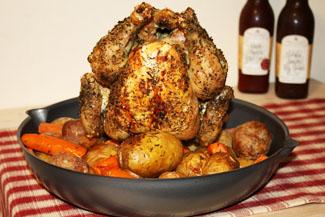 Stand Up Chicken mit Beilagen