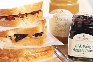 Jam Jelly und Peanut Butter Sandwiches