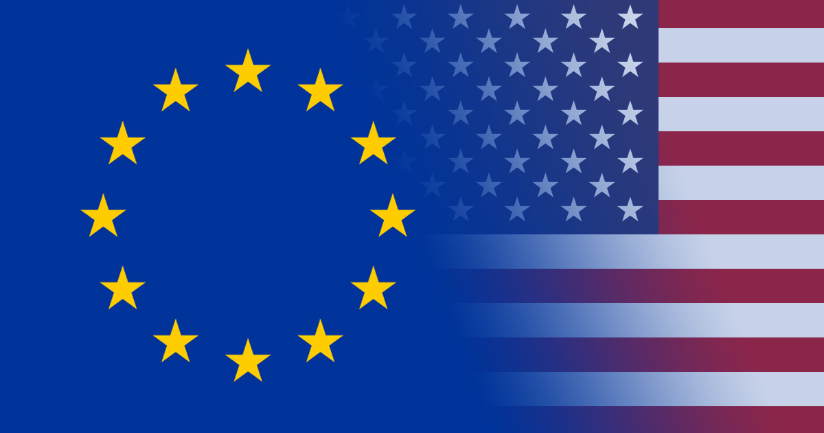 Europäische und Amerikanische Flagge